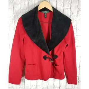 Ralph Lauren Red Shawl Collar Jacket Sweater Sz S